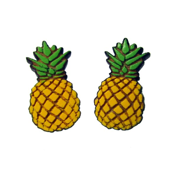 2 cute pineapple wood stud earrings facing forward to show detail