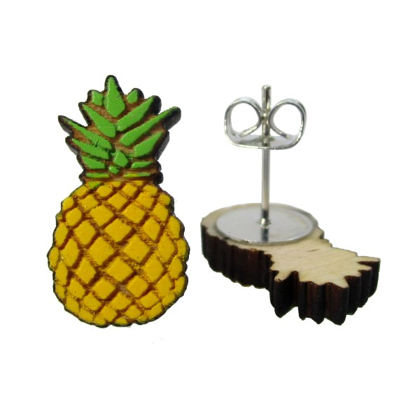 pineapple stud earrings one facing forward one on side to show stud post and butterfly clutch
