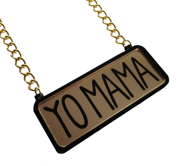yo mama text pendant on gold chain with white background hanging sideways