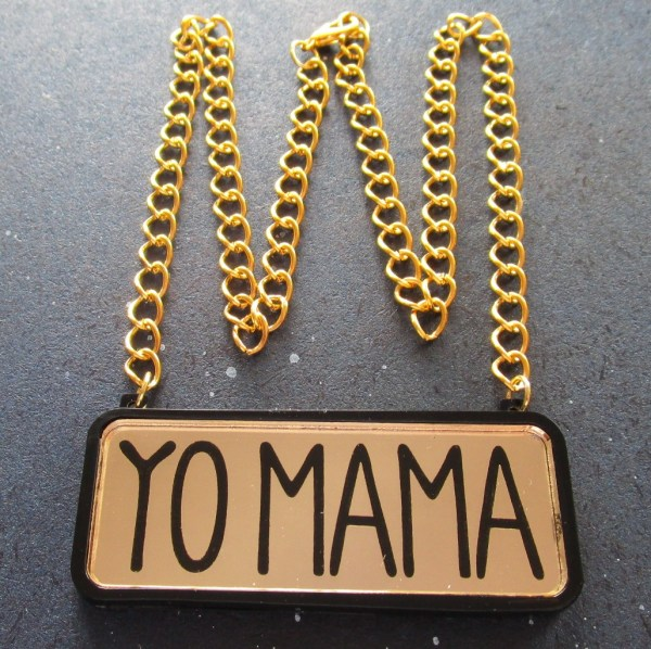 gold yo mama text necklace with gold chain in shape of crown