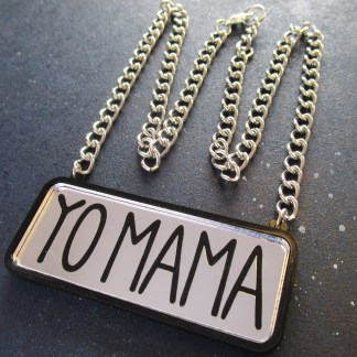 silver yo mama text necklace with silver chain in shape of crown