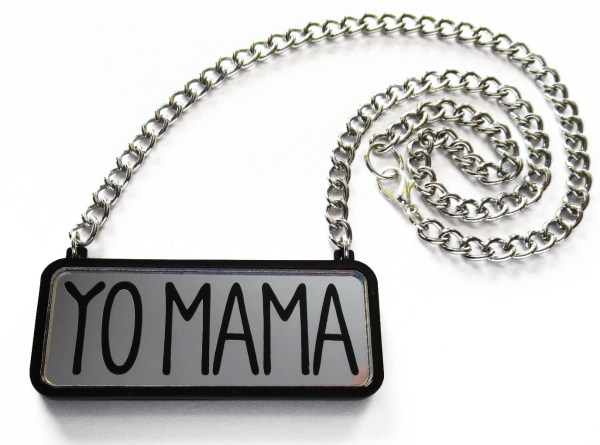 silver yo mama statement necklace with silver chain in coil to show lobster claw clasp