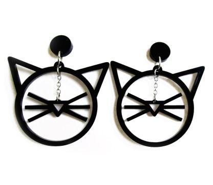 line art cat face dangle earrings on white background