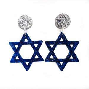 star of david glitter dangle earrings