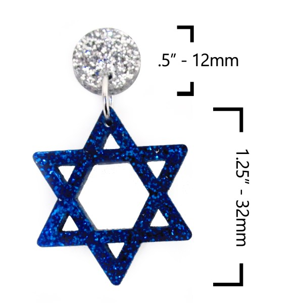 star of david earring with dimentions Festival of Lights