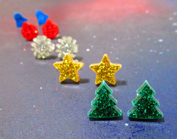 glitter christmas earring collection