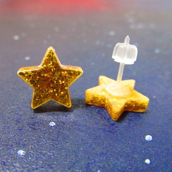 glitter gold star stud earrings