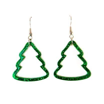 Glitter Green Christmas Tree Outline earrings on white background