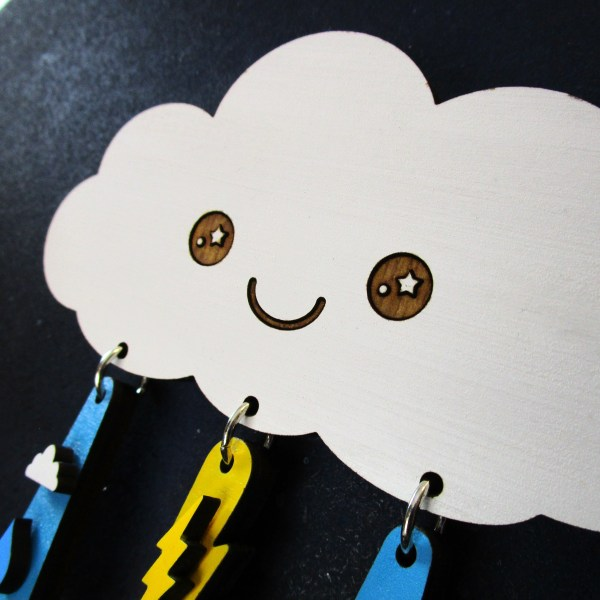 close up of cute kawaii rain cloud jewelry set