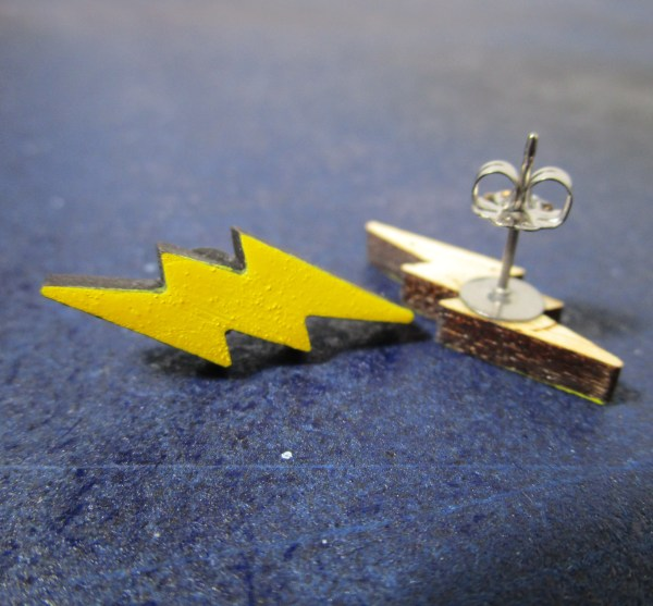 little yellow lightning bolt stud earrings