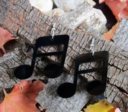back music not earrings on wood