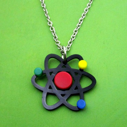 atom necklace on green background