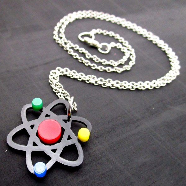 chain and science atom pendant necklace