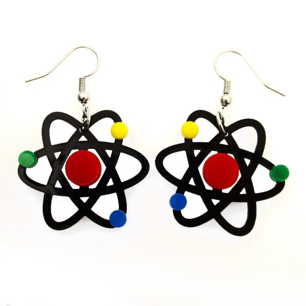 atom molecule particle nucleus pendant statement costume earrings