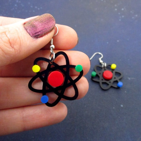 hand holding atom particle scientist earrings