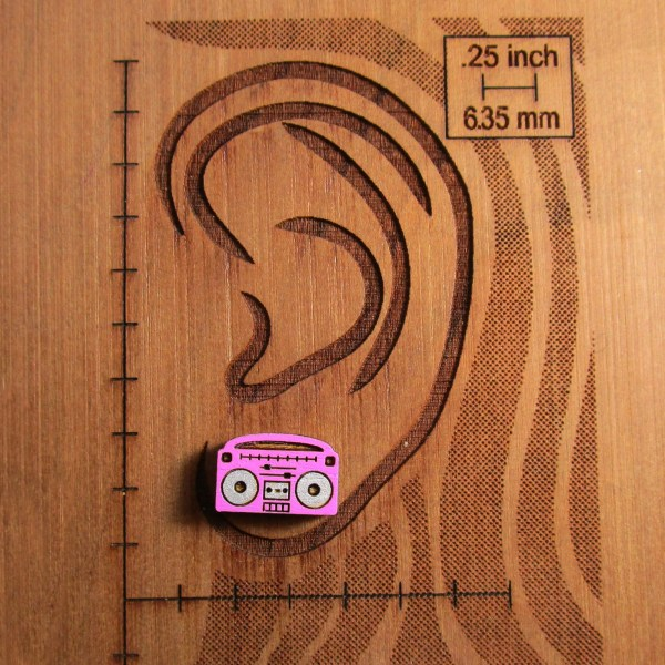 Cute little hand painted colorful boombox radio tape cassette player retro s s design stud earrings jewelry