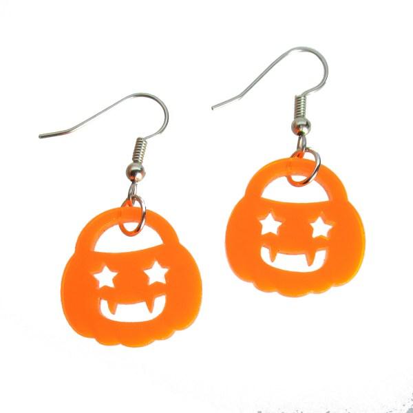 Cute little neon orange star smiling happy pumpkin jacklantern pail halloween dangle earrings jewlery