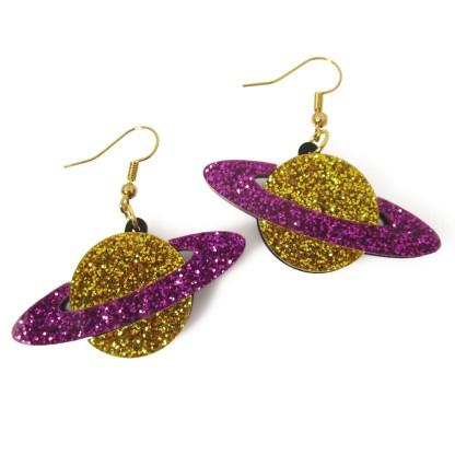purple and gold glitter saturn galaxy planet dangle earrings