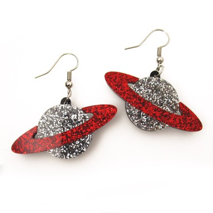 red and silver glitter saturn galaxy planet dangle earrings