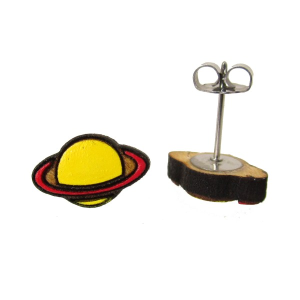 small hand painted yellow and red ringed saturn planet stud earrings