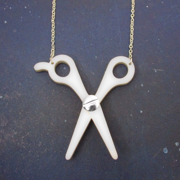open hair craft sewing scissors pendant necklace gift