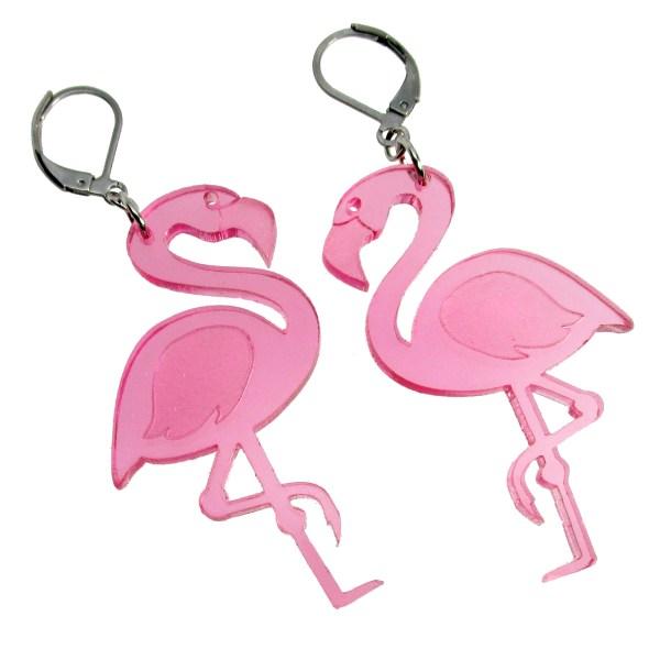 big pink flamingo summer summertime beach luau fun dangle earrings with closed loop hook earrings jewelry