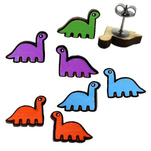 cute little colorful brontosaurus sauropod dinosaur stud earrings wood hand painted jewelry