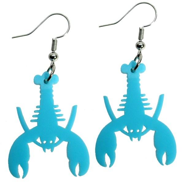 fun teal lobster shape summer beach luau swimsuit dangle earrings jewelry