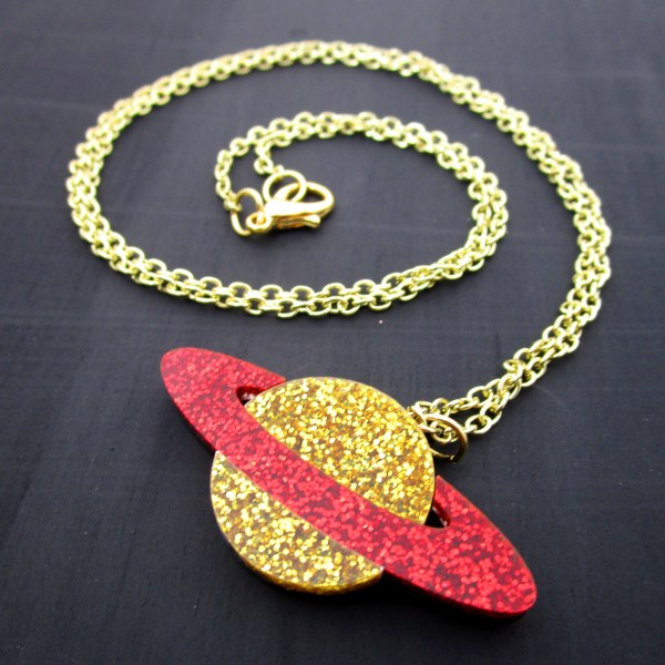 gold and red gold chain pendant planet necklace