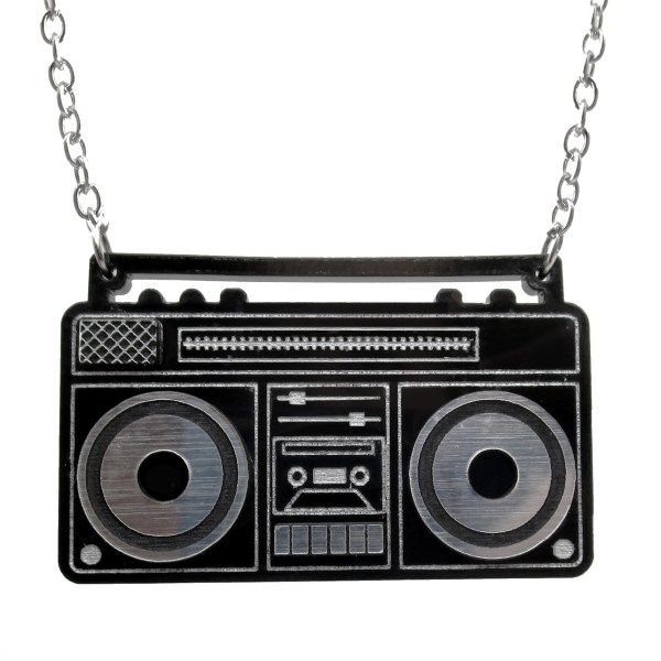 old school retro lookign boombox stereo cassette player speakers radio s pendant necklace jewelry