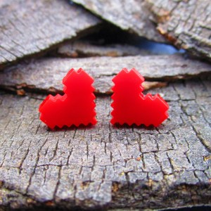 8 bit pixel heart cosplay earrings fr legend of zelda
