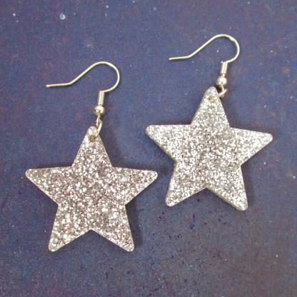 big glitter silver acrylic star earrings