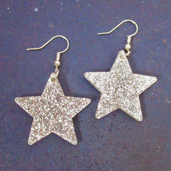 big glitter silver acrylic star earrings