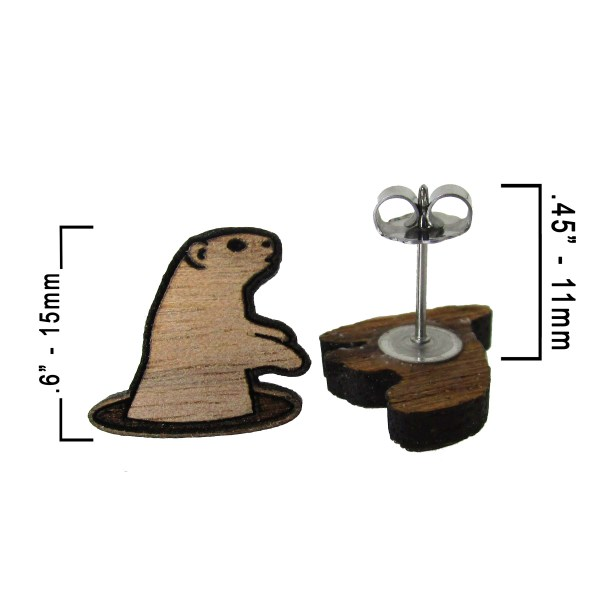 measurements of how big these groundhog earrings are