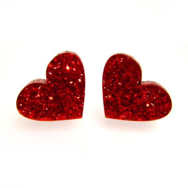 2 front facing glittery red heart earrings