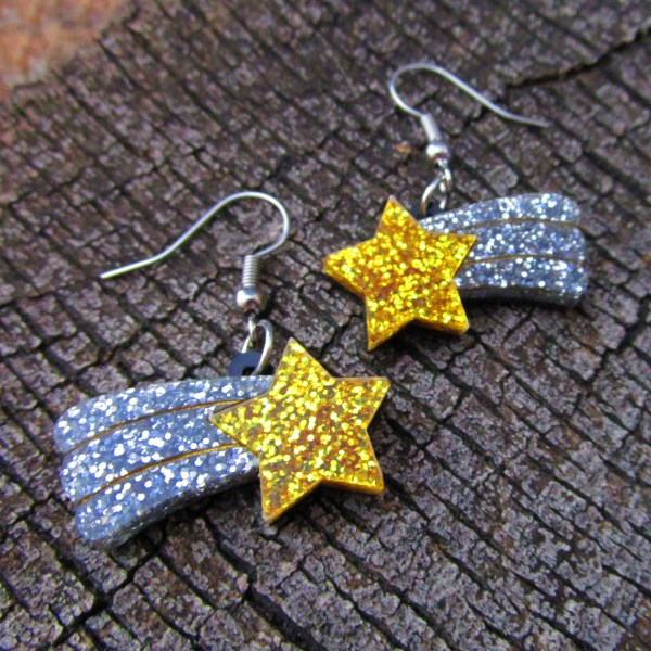 gold and silver glitter shooting star dangle earrings