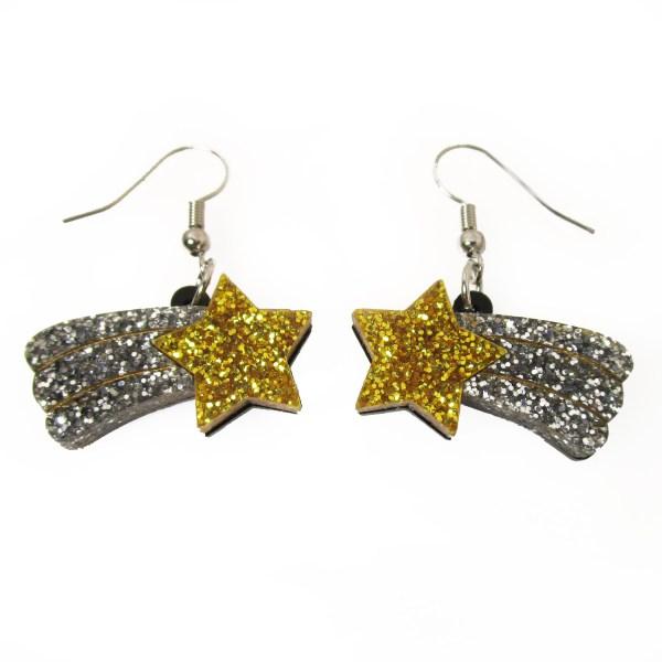 shooting falling star dangle statement earrings