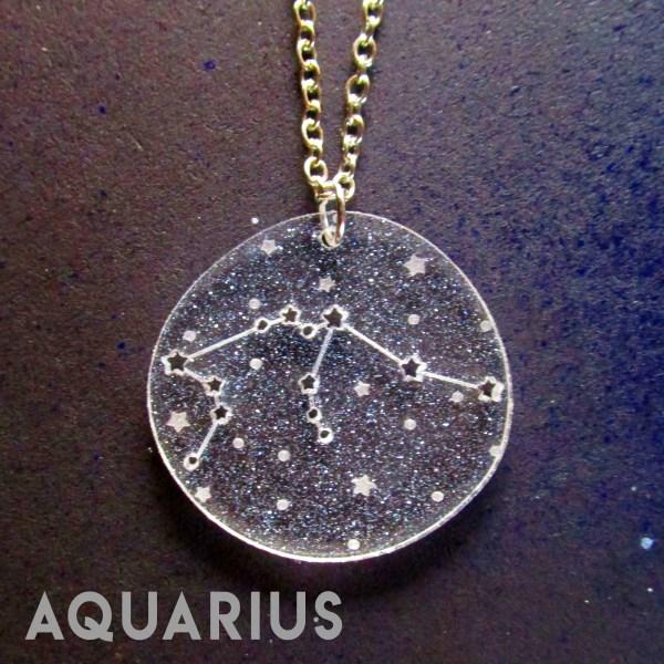aquarius zodiac sign constellation star pendant necklace