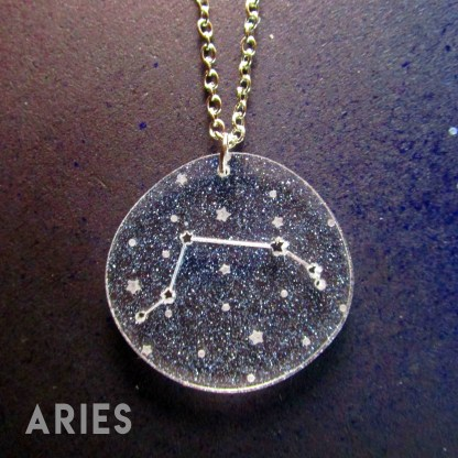 aries zodiac sign constellation star pendant necklace