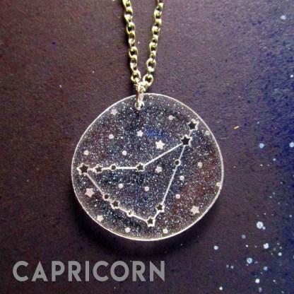 Capricorn zodiac sign constellation star pendant necklace