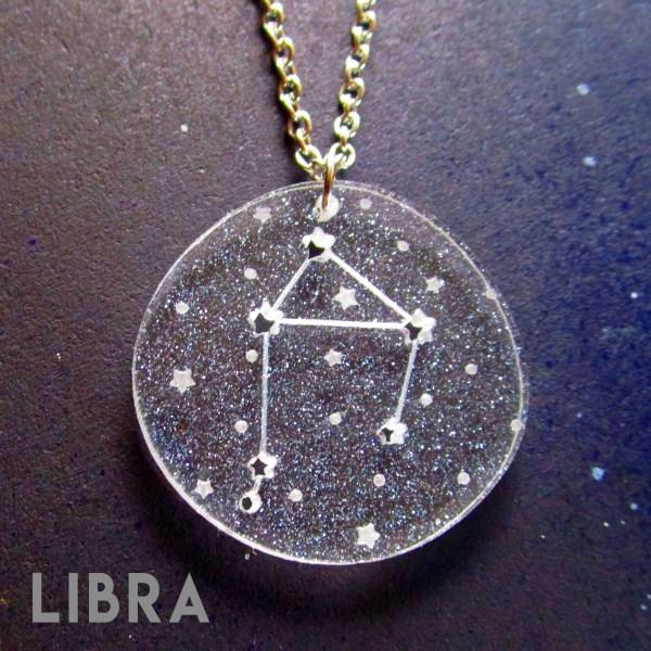 libra zodiac sign constellation star pendant necklace