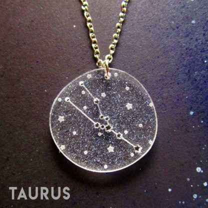 taurus zodiac sign constellation star pendant necklace