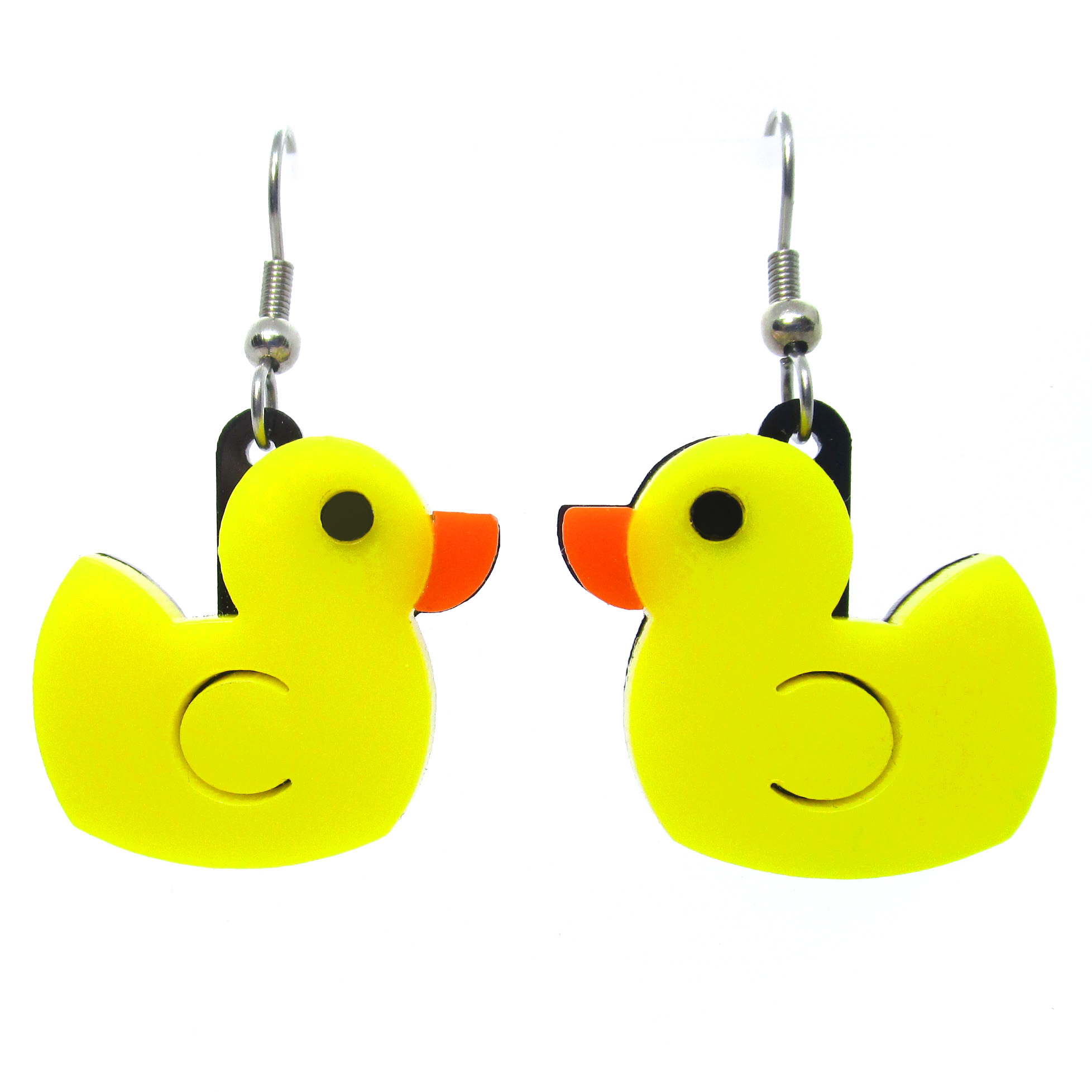 Big Yellow Rubber Duck Dangle Earrings