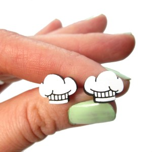 hand holding chef cook hat stud earrings to show size