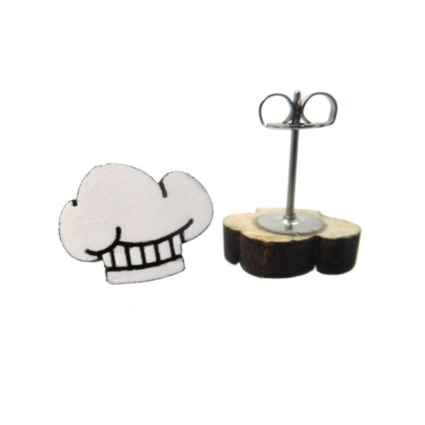 chef hat earrings to show pendant and stud post with clutch