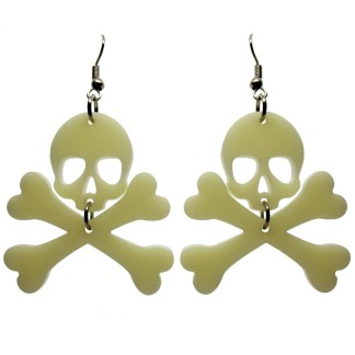 skull and crossbones jolly roger bone dangle earrings on white background