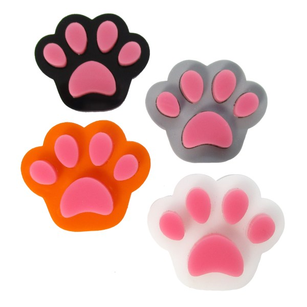 collection of paw print brooches in black white orange and gray