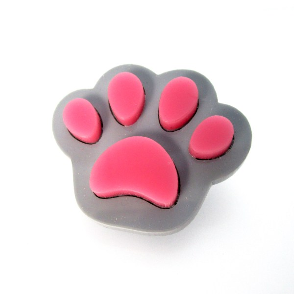 gray paw with pink pads brooch