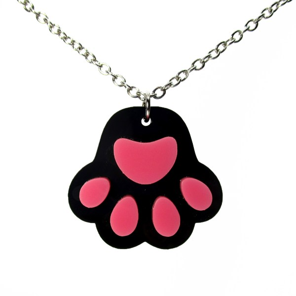black paw print pendant necklace on white background