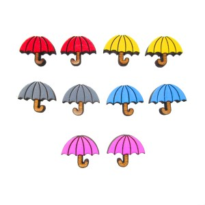 collection of tiny colorful umbrella earrings on white background